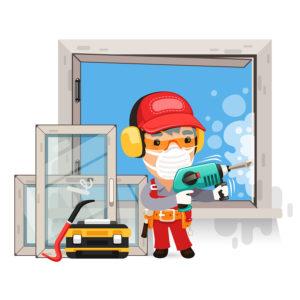 Dismantling the Old Window. Isolated on white background. Clipping paths included in additional jpg format.